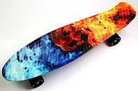 """Скейт Пенни Борд Print, Penny Board Nickel 27"""" """"Fire and Ice"""","""