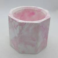 Кашпо декоративное под мрамор из гипса форма Бочонок для композиций со мхом, h=5,0 см d=5,5 см