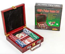 Покерный набор в дерев.кейсе-100 IG-6641
