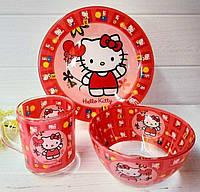 """Набір дитячого посуду """"Hello Kitty"""" 3 предметний., фото 1"""