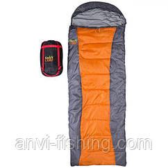 Спальник GreenCamp, одеяло, 450гр/м2, серо-оранжевый