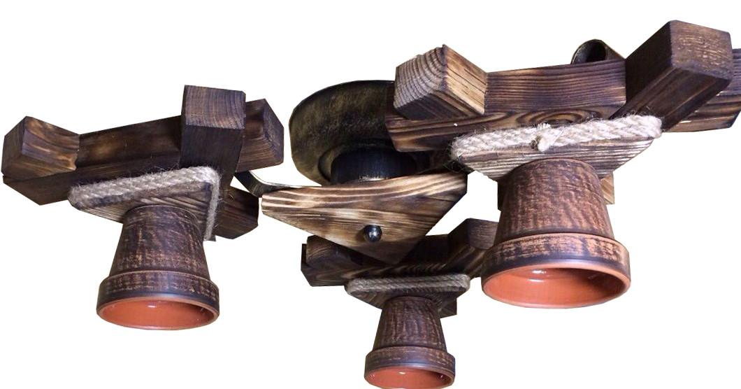 Люстра потолочная из натурального дерева с горшком на 3 плафона