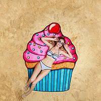 Пляжний Килимок Кекс рушник круглий 150 см | пляжный коврик Кекс полотенце покрывало