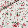 Корейский сатин цветы розовые на бело-розовом фоне, ш. 160 см