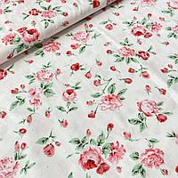 Корейский сатин цветы розовые на бело-розовом фоне, ш. 160 см, фото 1