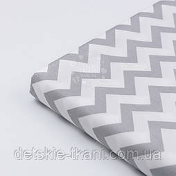 """Відріз сатину """"Сірий зигзаг"""" на білому, №2750с, розмір 70 * 160 см"""