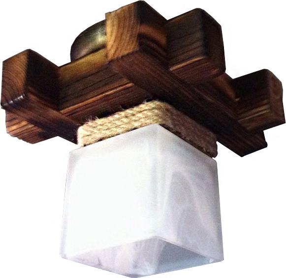 Деревянная люстра потолочная на 1 плафон