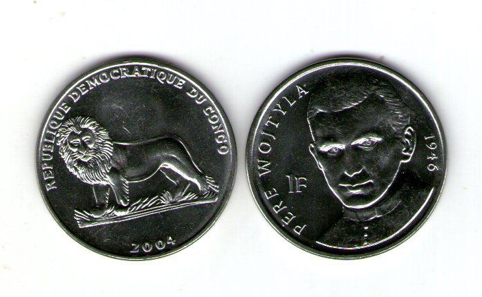 Конго Демократическая Республика 1 франк 2004 Павел II никель №205
