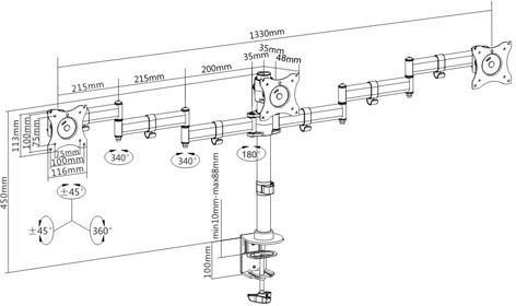 Настольное крепление для трех мониторов ITech MBS-13F