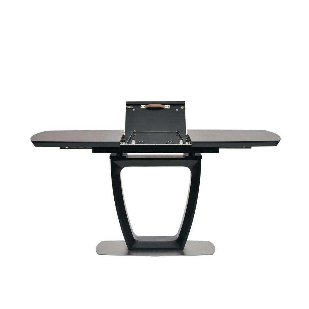 Стіл розкладний обідній скло+МДФ RAVENNA DARK GREY ( Равенна Дарк Грей ) 120-160 см. темно-сірий
