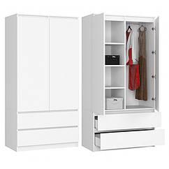 Шкаф гардероб Akord S 90 2 двери 2 ящика ламинированная доска Белый