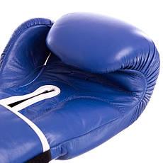 Перчатки боксерские кожаные на липучке BAD BOY STRIKE синие (12OZ) VL-6615-B, фото 2