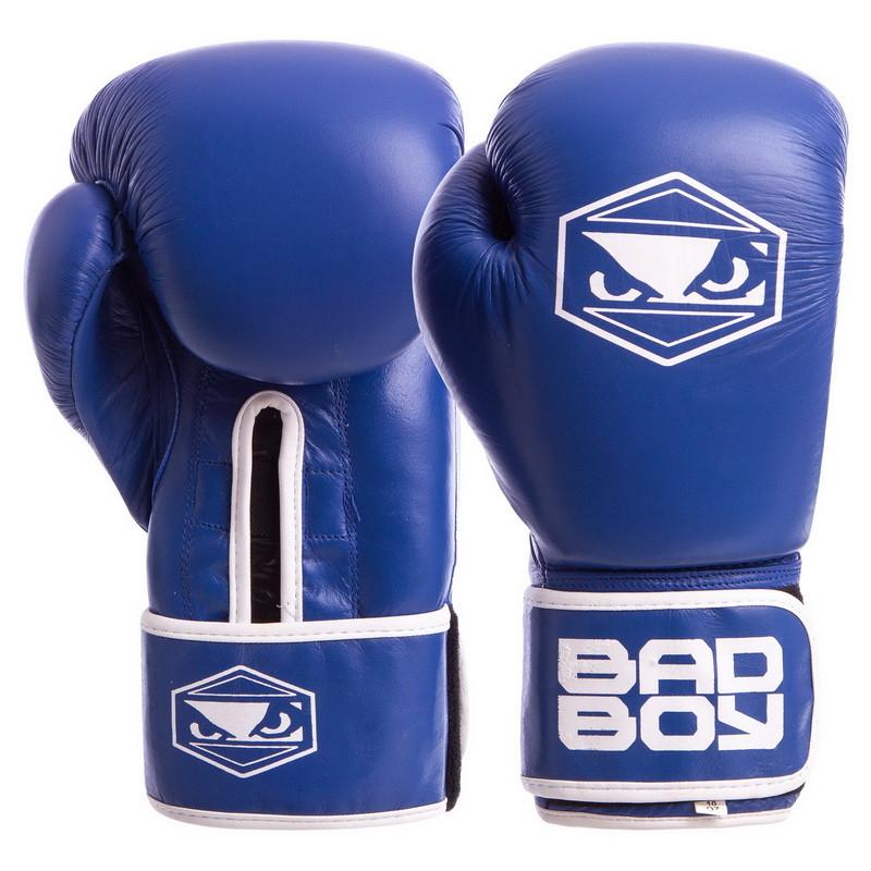 Перчатки боксерские кожаные на липучке BAD BOY STRIKE синие (12OZ) VL-6615-B