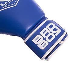 Перчатки боксерские кожаные на липучке BAD BOY STRIKE синие (12OZ) VL-6615-B, фото 3