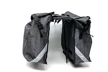 Велосумка штаны на багажник из водоотталкивающего материала BRAVVOS F-088 35x30x13см Серая (BIB-029)
