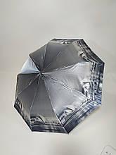 Парасолька напівавтомат Calm Rain з зображеннями міст сатин Чорно-білий (483-2)