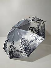 Парасолька напівавтомат Calm Rain з зображеннями міст сатин Чорно-білий (483-5)