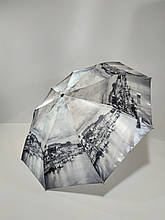 Парасолька напівавтомат Calm Rain з зображеннями міст сатин Чорно-білий (483-11)