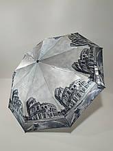 Жіночий напівавтомат зонт Calm Rain з зображеннями міст сатин Чорно-білий (483-7)