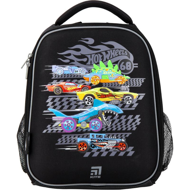 Рюкзак Kite Education для первоклассника с ортопедической спинкой каркасный  555 Хот Вилс Hot Wheels HW |44334