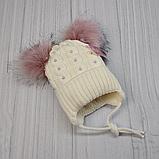М 94046 Шапка вязаная  зимняя для девочки с ушками (малявка) 1-5 лет, разные цвета, фото 6