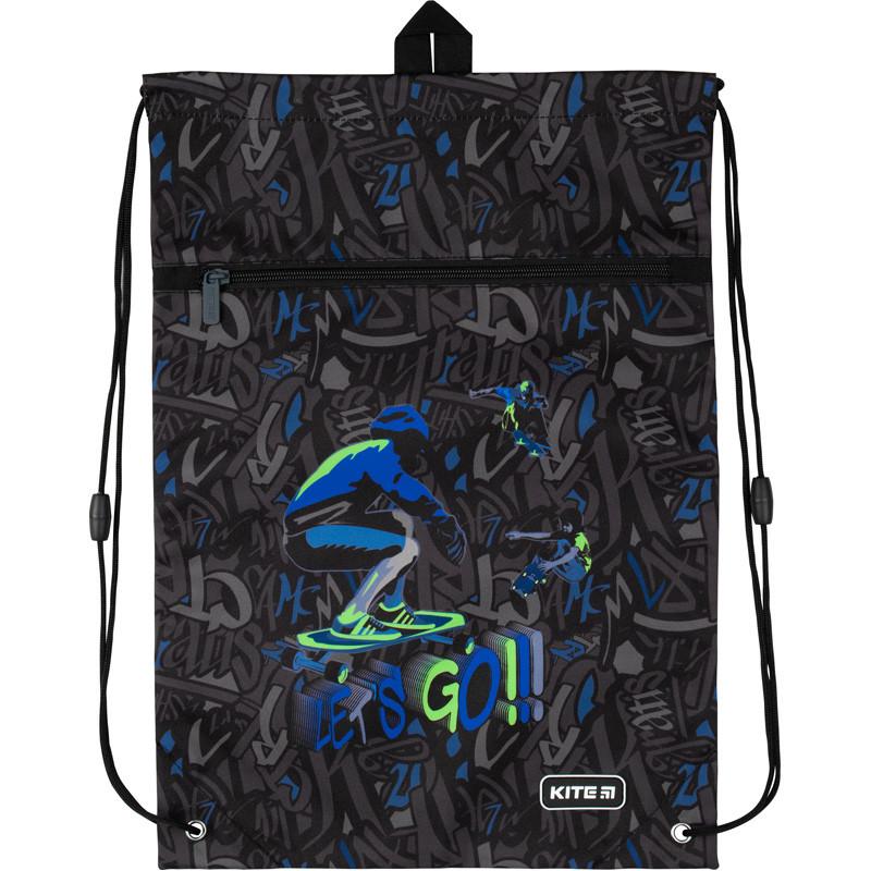 Сумка для обуви Kite с карманом 601M Dino and skate |44911