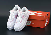 Женские кроссовки Nike Air Force 1 Low Shadow White (Найк Аир Форс Шедоу белые низкие кожаные) 36
