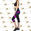 Жіночий спортивний комплект з рожевими вставками з мікрофібри бриджі та топ, фото 2