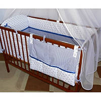 Набор в детскую кроватку из 8 эл.: балдахин, постель, мягкие бортики, карман,одело 140х100,подушка,100% хлопок
