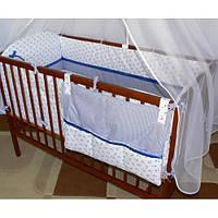 Набор в детскую кроватку из 7 эл.: КАРМАН, постель, мягкие бортики, большое одело 140х100,подушка,100% хлопок, фото 1