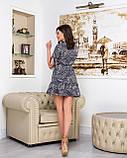 Летнее мини платье на запах цветочного принта из тонкой ткани софт, 2 цветов, р.42,44,46,48, код 256Ч, фото 3