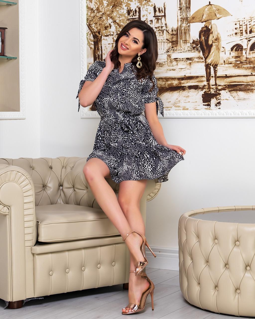 Летнее мини платье на запах цветочного принта из тонкой ткани софт, 2 цветов, р.42,44,46,48, код 256Ч