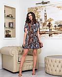 Летнее мини платье на запах цветочного принта из тонкой ткани софт, 2 цветов, р.42,44,46,48, код 256Ч, фото 5