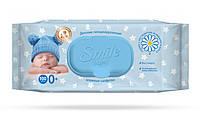 Детские влажные салфетки Smile Baby с экстрактом ромашки, алоэ и витаминным комплексом с клапаном 100 шт