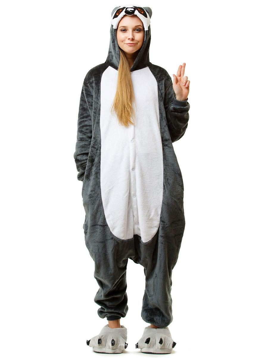 Пижама кигуруми Лемур Серый MNC kcr0084