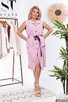 Платье летнее на пуговицах с пояском, Женское платье большого размера однотонное, Платье миди больших размеров, фото 2
