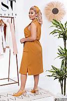 Платье летнее на пуговицах с пояском, Женское платье большого размера однотонное, Платье миди больших размеров, фото 3