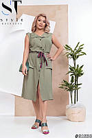 Платье летнее на пуговицах с пояском, Женское платье большого размера однотонное, Платье миди больших размеров, фото 4