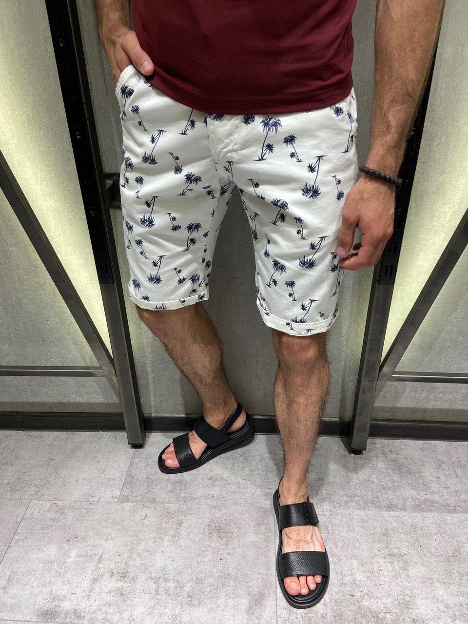 Мужские коттоновые шорты белые с пальмами