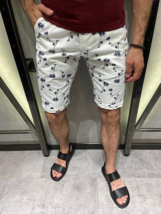 Мужские коттоновые шорты белые с пальмами, фото 2