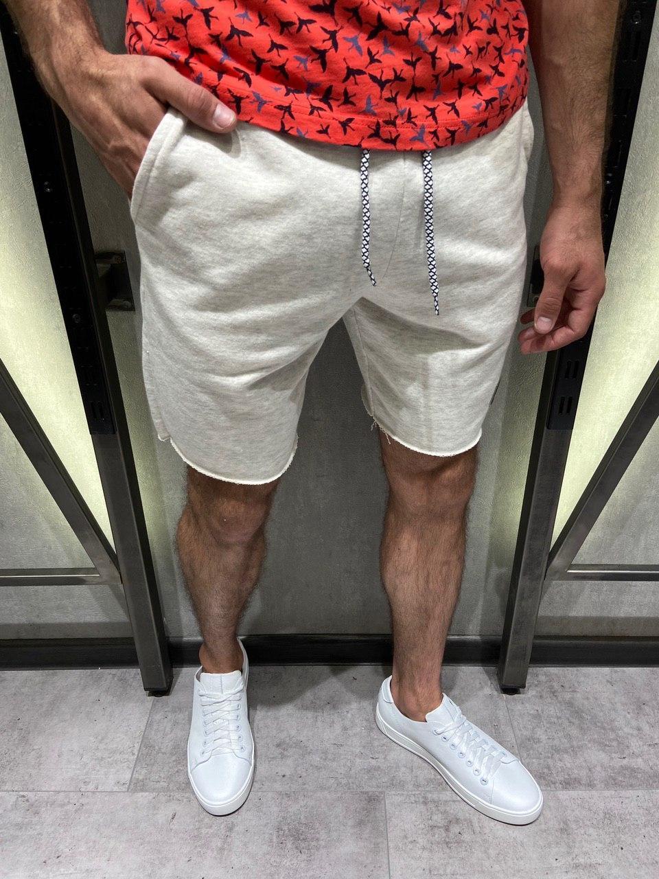 Мужские трикотажные шорты серые на шнурке