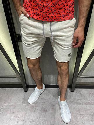 Чоловічі трикотажні шорти сірі на шнурку, фото 2
