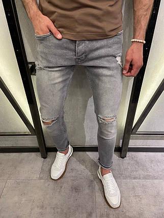 Чоловічі джинси завужені сірого кольору з розривами, фото 2