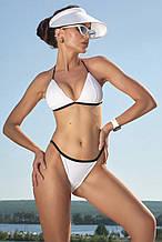 Женский летний раздельный купальник, треугольный. Однотонный. На завязках. Белый
