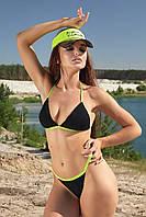Женский летний раздельный купальник, треугольный. Однотонный. На завязках. Черный с салатовым