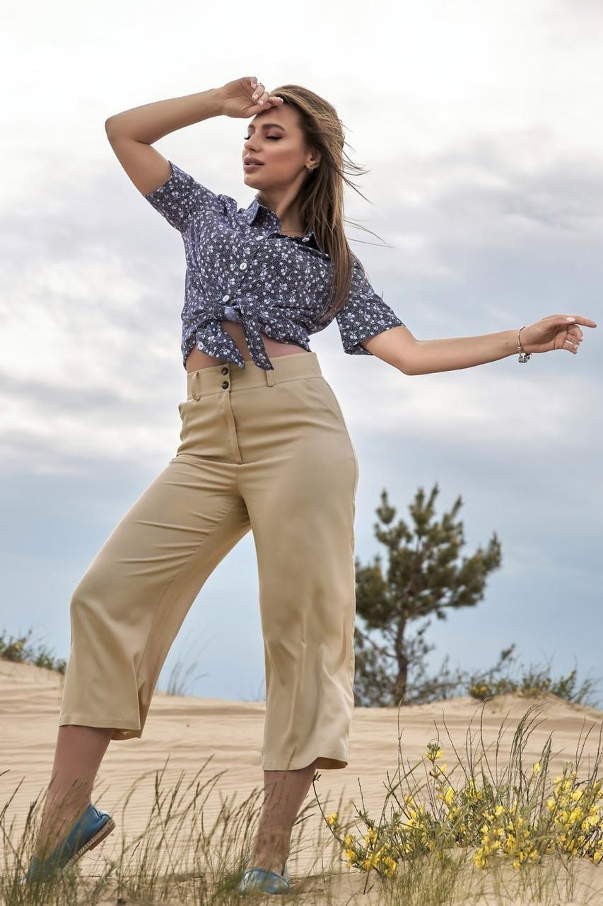 Женские летние льняные штаны кюлоты, свободные, на высокой талии. Бежевые