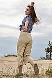 Женские летние льняные штаны кюлоты, свободные, на высокой талии. Бежевые, фото 2