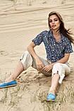 Женские летние льняные штаны кюлоты, свободные, на высокой талии. Бежевые, фото 3
