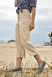 Женские летние льняные штаны кюлоты, свободные, на высокой талии. Бежевые, фото 4