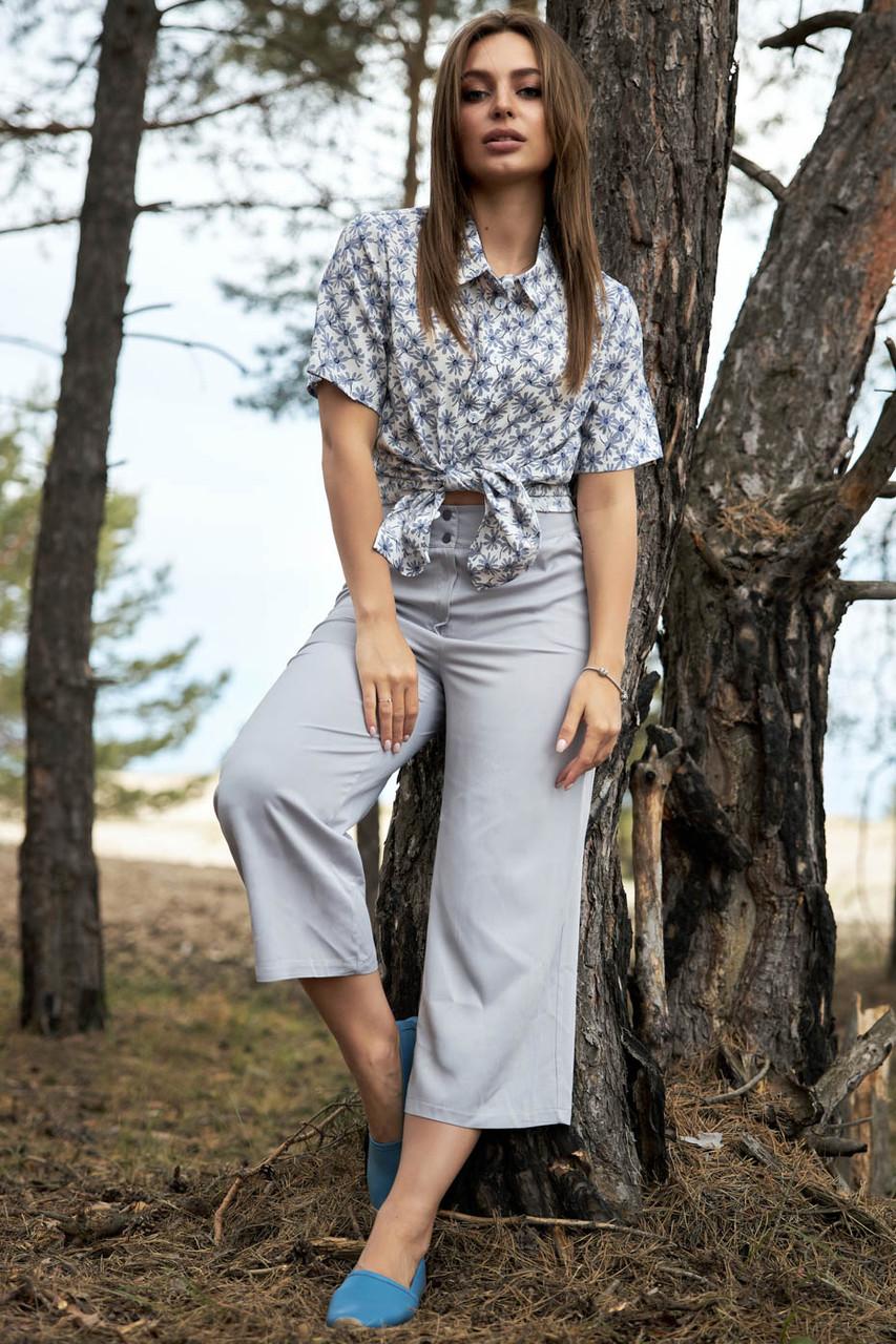 Женские летние льняные штаны кюлоты, свободные, на высокой талии. Серые